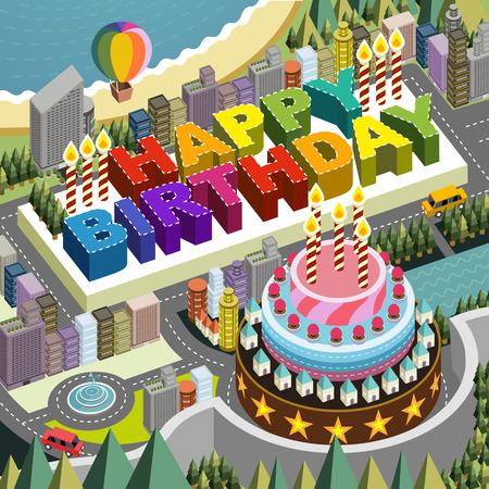 big scenery: flat 3d isometric city scenery with big birthday cake illustration