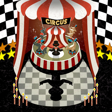 cirque: flat 3d isometric circus performing scenery illustration