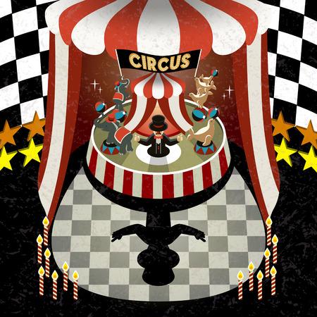 cirque: TV 3D isometrico eseguire circo scenari illustrazione