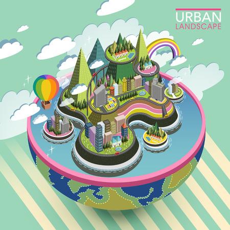 평면 3D 아이소 메트릭 아름다운 도시 풍경 그림 일러스트