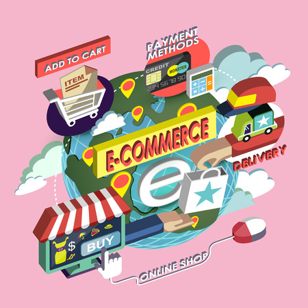flat 3d isometric e-commerce concept illustration over pink background Vector