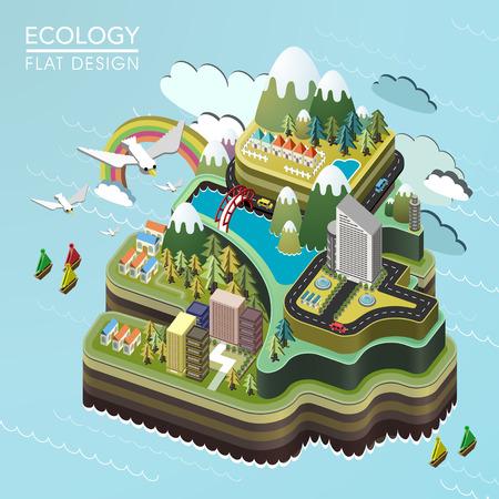 평면 3D 아이소 메트릭 아름다운 섬 풍경 그림