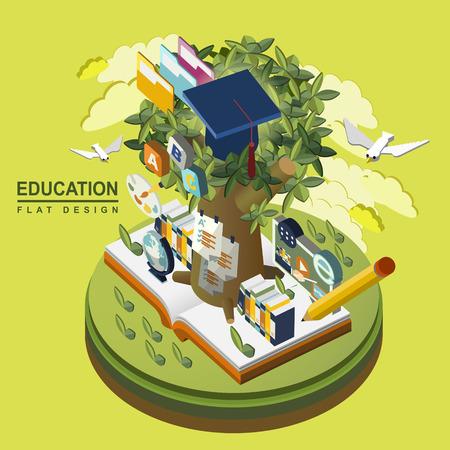 녹색 배경 위에 평면 3D 아이소 메트릭 교육 개념 그림