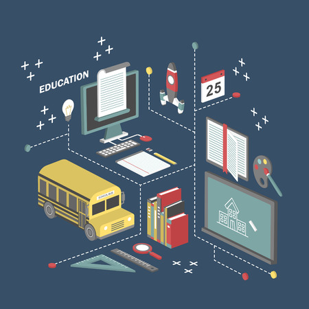 school illustration: flat 3d isometric education concept illustration over blue background