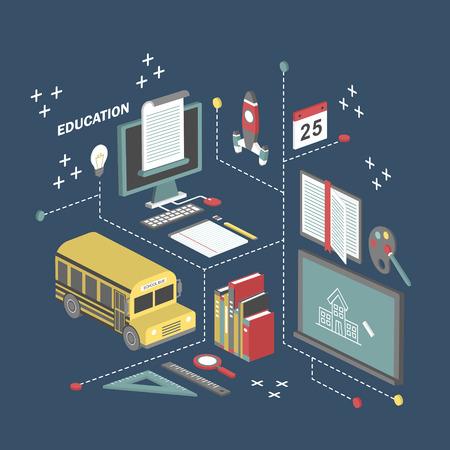 autobus escolar: Ilustración del concepto de la educación 3D isométrica plano sobre fondo azul Vectores