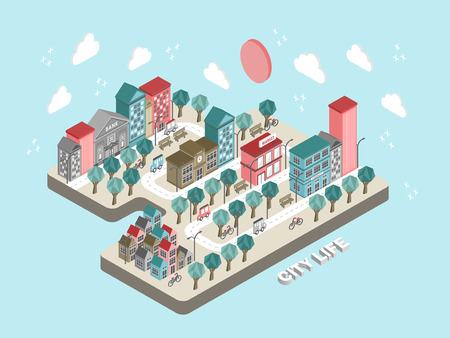 good life: flat 3d isometric city life concept illustration over blue background
