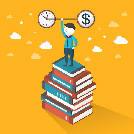 manipulate: flat 3d isometric illustration concept of time and money over yellow background Illustration