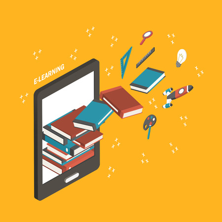 flat 3d isometric e-learning concept illustration over yellow background