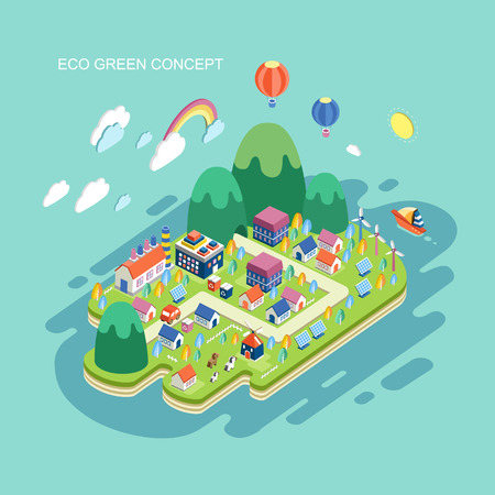eco power: flat 3d isometric eco green concept illustration over blue background