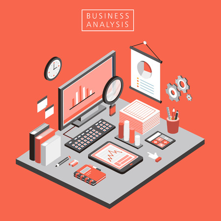 flat 3d isometric business analysis illustration over orange background