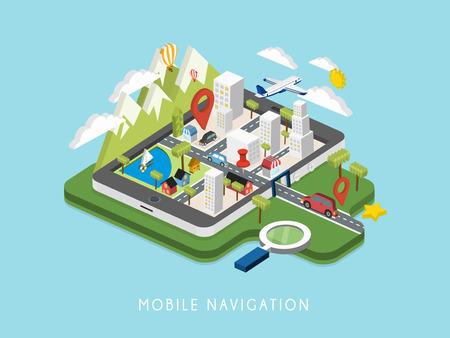 navigation: flat 3d isometric mobile navigation illustration over blue background