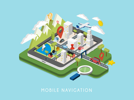 flat 3d isometric mobile navigation illustration over blue background