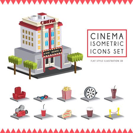 compose: flat 3d isometric cinema icons set illustration over white background