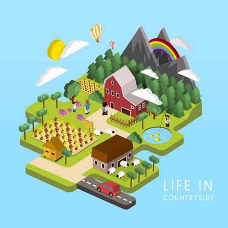 flat 3d isometric life in countryside illustration over blue background Vettoriali