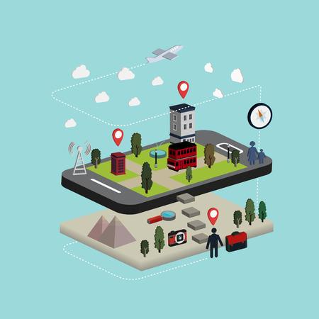flat 3d isometric mobile navigation illustration over blue background