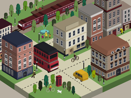 ベージュの背景の上フラット 3次元等尺性都市生活イラスト  イラスト・ベクター素材