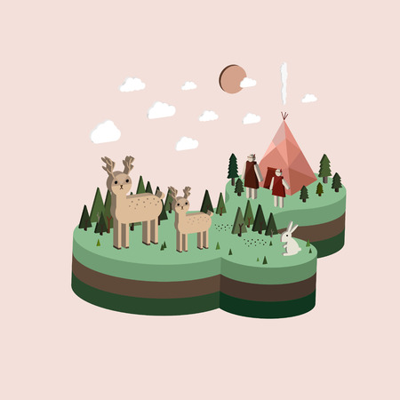 bivouac: flat 3d isometric camping life illustration over pink background