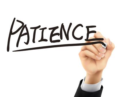 paciencia: palabra paciencia escrito a mano en un tablero transparente Vectores
