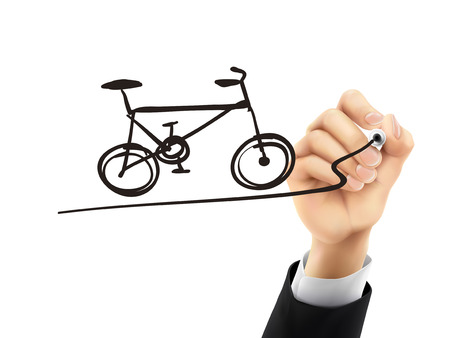 remarkable: bicycle drawn by hand on a transparent board Illustration