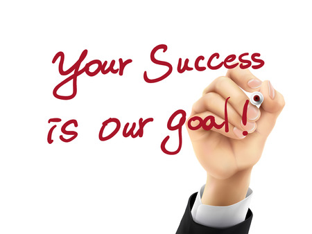 remarkable: your success is our goal words written by hand on a transparent board