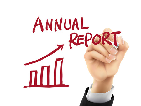 auditing: annual report words written by hand on a transparent board