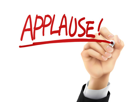 acclamation: applause word written by hand on a transparent board Illustration