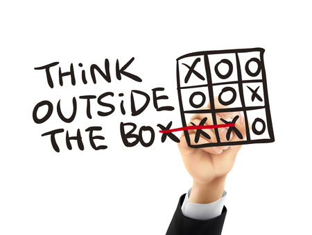 different idea think different: think outside the box written by hand on a transparent board Illustration