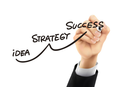 successful businessman: success strategy drawn by hand on a transparent board Illustration