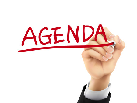 meeting agenda: agenda word written by hand on a transparent board