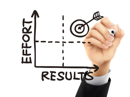 dedicate: results-effort graph drawn by hand on a transparent board Illustration