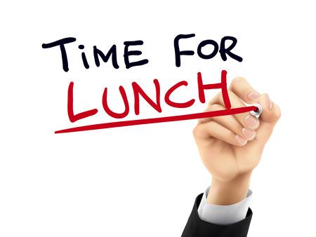 투명 보드에 손으로 쓴 점심 단어 시간