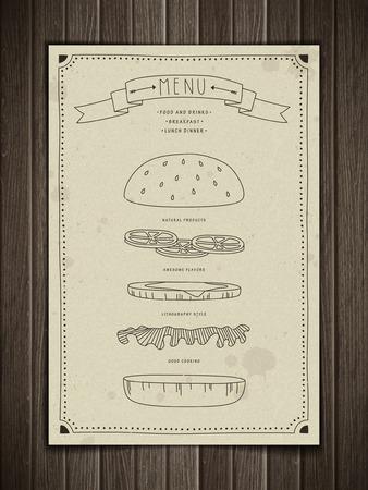 carte: creative hamburger menu design isolated on wooden background Illustration
