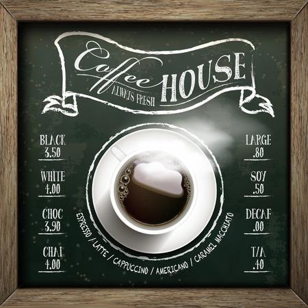 top menu: coffee house menu design with top view coffee over blackboard