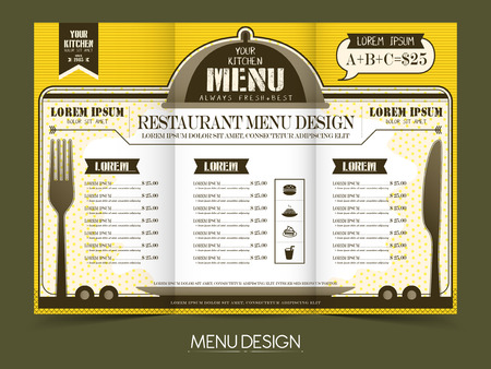 the simplicity: modern simplicity restaurant menu design in yellow and white