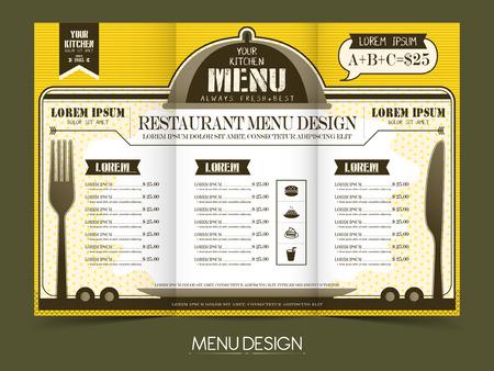 carte: modern simplicity restaurant menu design in yellow and white