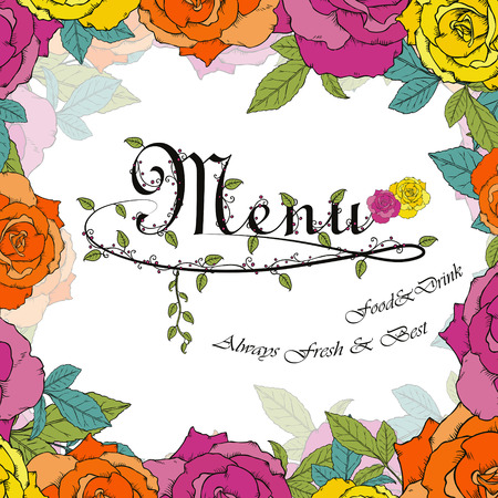 carte: fashion menu design with colorful floral elements