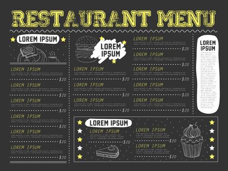 attractive restaurant menu design with hand drawn elements in black