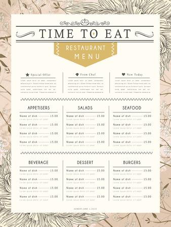 carte: graceful restaurant menu design with flower elements in pink Illustration