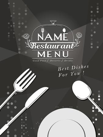 sparkling restaurant menu design with tableware elements Illustration