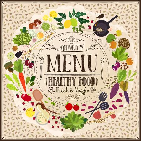 carte: adorable restaurant menu design with food ingredient elements
