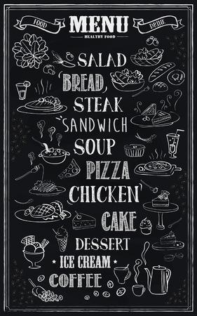 carte: retro restaurant menu design with hand drawn food over black background