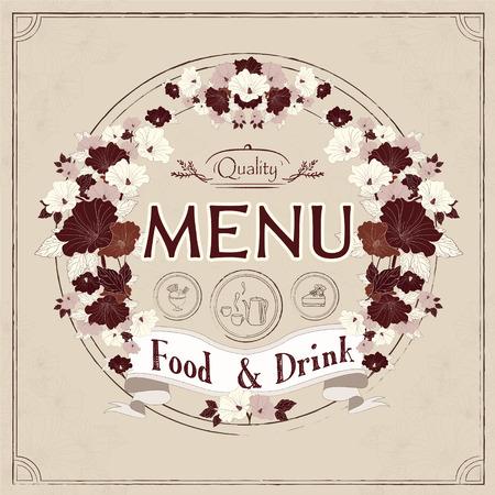 graceful: graceful restaurant menu design with flowers elements