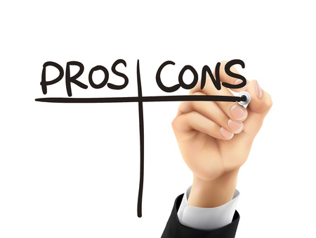 cons: pros and cons words written by hand on a transparent board