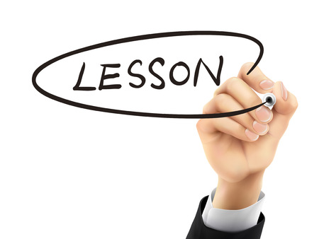 written: lesson word written by hand on a transparent board Illustration