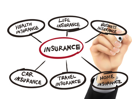 professional relationship: insurance word written by hand on a transparent board Illustration