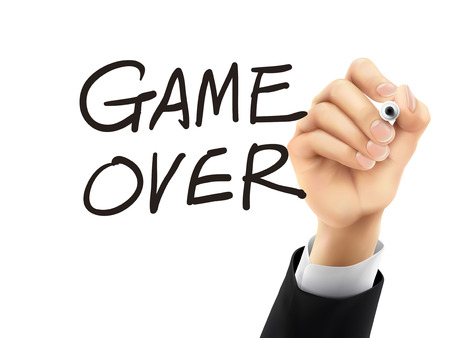 game over: game over words written by hand on a transparent board