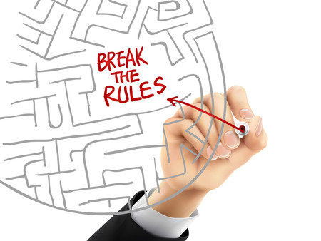 break the rules written by hand on a transparent board
