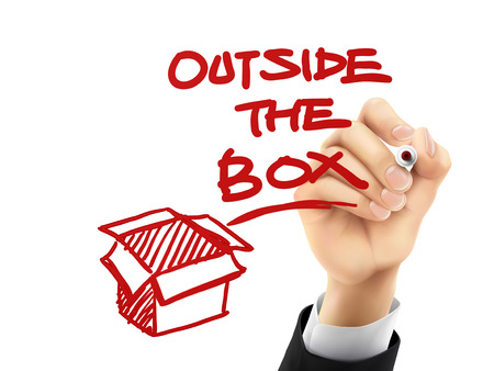written: outside the box written by hand on a transparent board Illustration