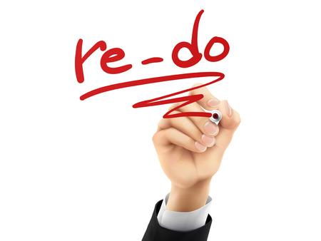 reforming: re-do palabra escrita a mano sobre una placa transparente Vectores