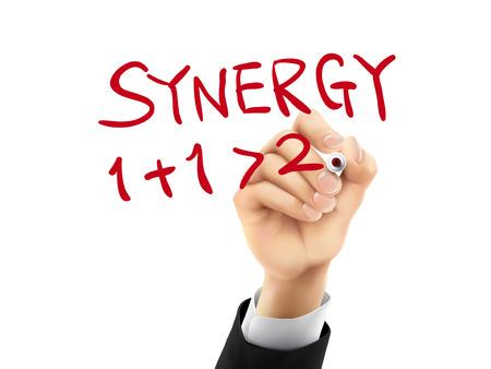 synergie: Synergie Wort mit der Hand auf einem transparenten Tafel geschrieben